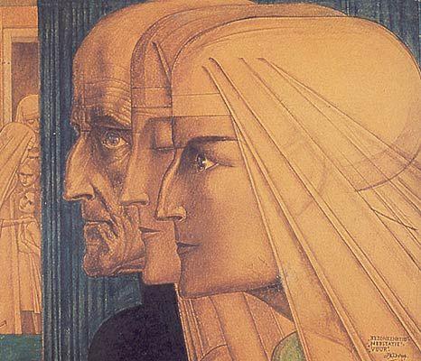 Jan Toorop | Bezonkenheid, Meditatie, Vuur | Pencil and Crayon on Paper | 35.5 x 41 cm