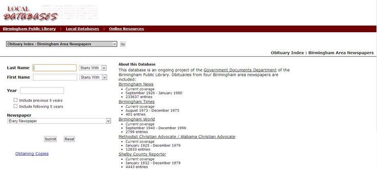 Birmingham Newspaper Obituary Index Online #genealogy http://bpldb.bplonline.org/db/obituaries