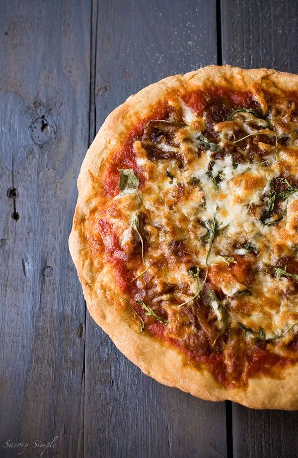 Caramelized Onion Arugula Pizza