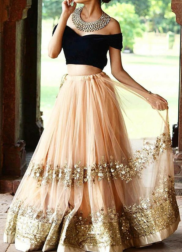 Peach and Black Embroidered Lehenga