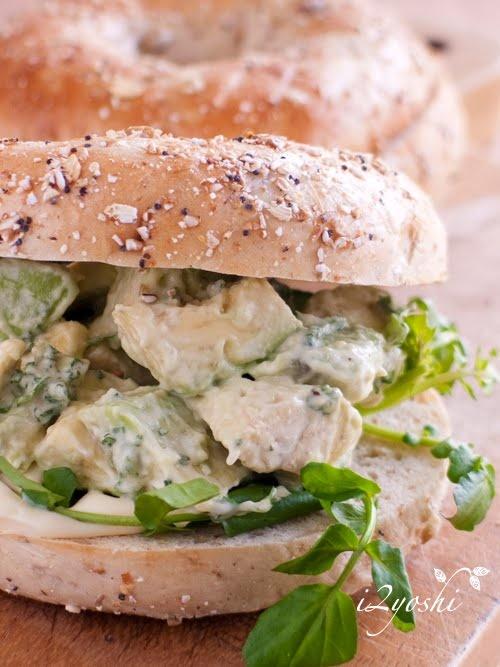 avocado wasabi bagel sandwich