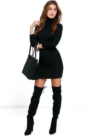 Phenomenal Feeling Black Long Sleeve Bodycon Dress