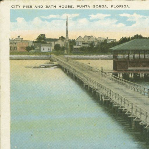 Bath house at city pier post card charlotte harbor area for Bath house florida