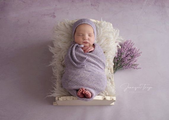 Newborn Wrap and Hat  Lavender Wrap and Hat Set  Newborn Knit Wrap  Newborn 4a3d62927446