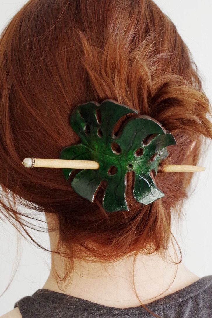 Green Leather   Exotic Monstera Leaf Hair Pin