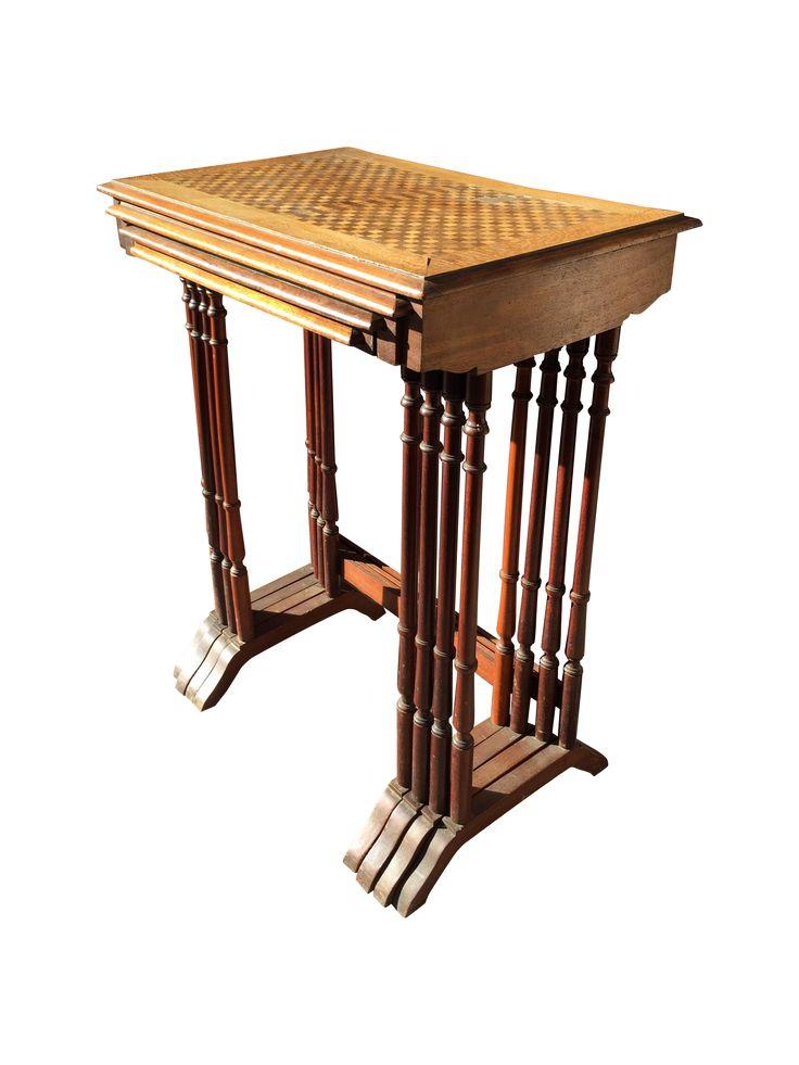 1820s English Walnut Nesting Tables, Signed - 4 on Chairish.com