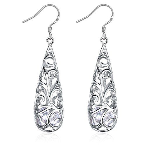 925 Sterling Silver Women Earrings, Silver Earrings for women JR INTL Aurore Boreale Crystal Earrings, ideal Gifts with Gift Packed