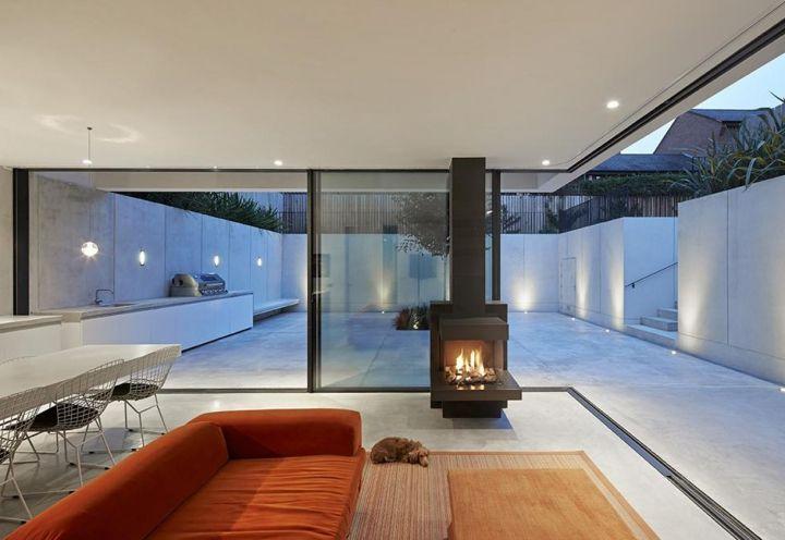 VILLA CONTEMPORANEA CON GIARDINO A LONDRA Garden House: cemento bianco e ampi lucernari vicino al Tamigi - Elle Decor Italia