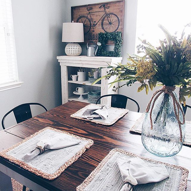 After a pep talk from Rhonda @hallstromhome I've changed my outlook on this new Instagram change! I'm excited to put more focus on my blog and this will push me to do that! Hope everyone has a great Wednesday!! Sharing my dining room for #littletouchesofspring #decorchix and for #tuesdaydecorparade #instaangels my farmhouse table!