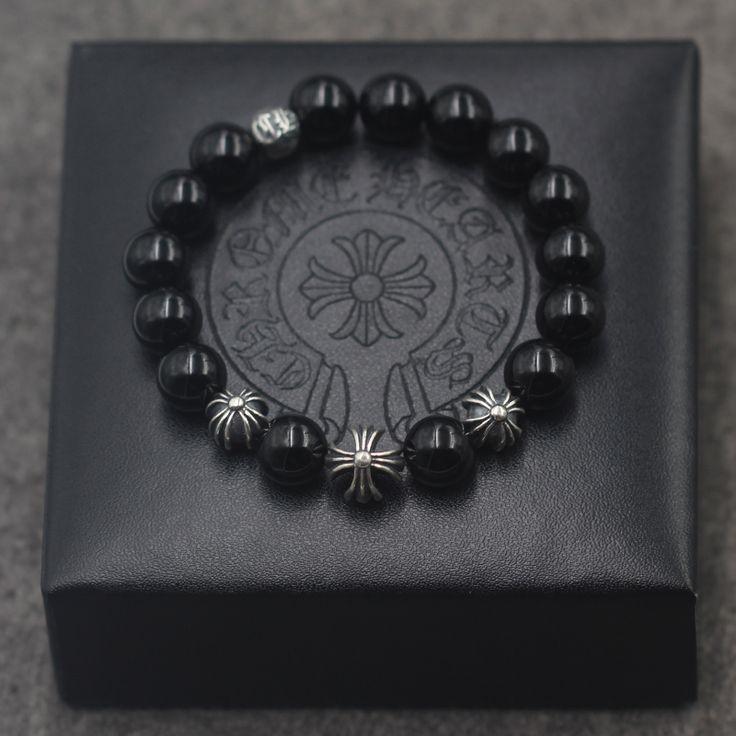 Cheap Chrome Hearts Silver Cross Ball Black Agate EXO Style Beads Bracelet for Men