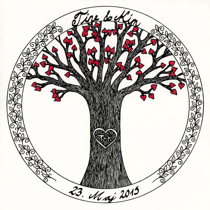 A wedding card I have made for my friend. Original Zentangle artwork, copyright Sandy Rosenvinge Lundbye.