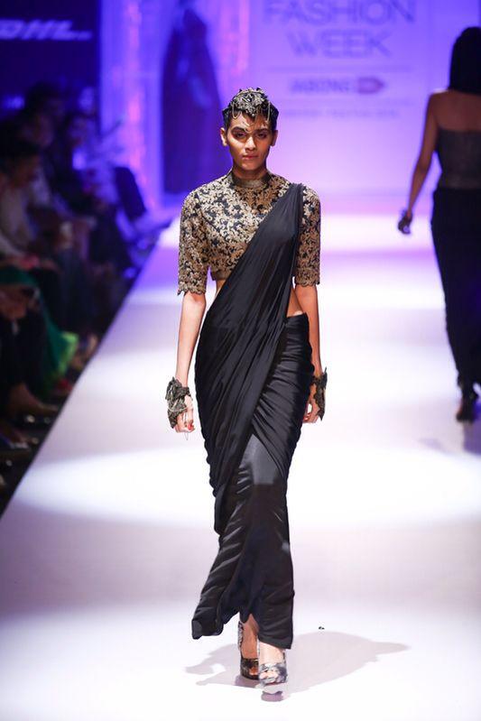 Shantanu & Nikhil Black Drape #Saree With Grey Embroidered #Blouse At Lakme Fashion Week Winter/Festive 2014.