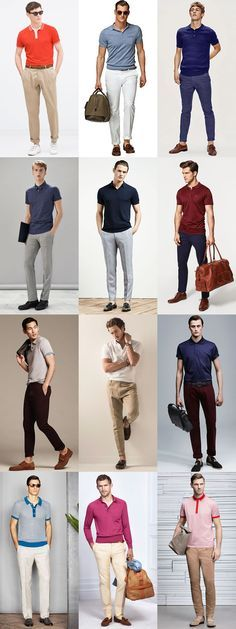 Men's Dressed Up Polo Shirts Outfit Inspiration Lookbook
