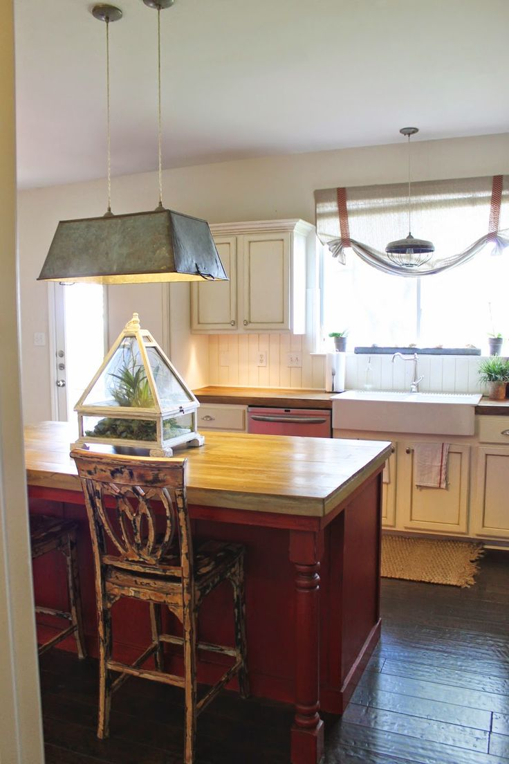 Custom made kitchen island from vintage reclaimed wood with or without - Farmhouse Kitchen Red Island Faux Painted Barstools Galvanized Metal Bucket Light Gathered Wren Kitchenreclaimed Wood