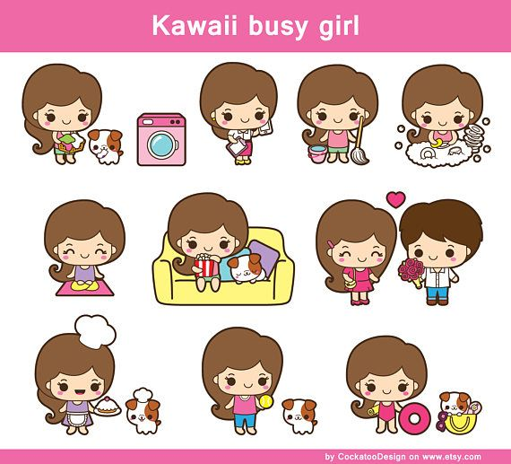 Drawings of girls kawaii. Girl clip art cute