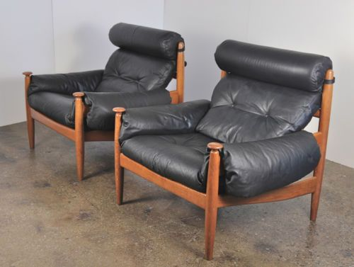 Danish Modern Leather Sofa And 2 Chairs Set Arne Norell Style Vintage