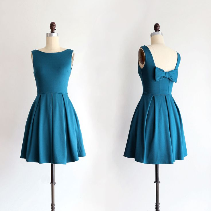 JANUARY | Teal bridesmaid dress with bow. vintage inspired cocktail dress. pleated skirt party dress. retro mod bridesmaids dress by ShopApricity on Etsy https://www.etsy.com/listing/230795962/january-teal-bridesmaid-dress-with-bow