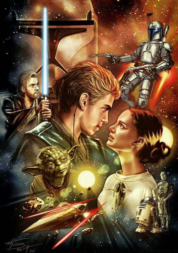 Attack Of The Clones Star Wars Poster Star Wars Illustration Star Wars Padme