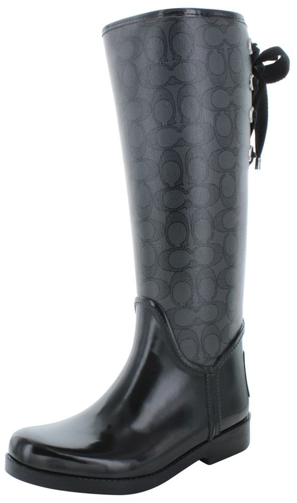 Iconic Coach Signature fabric adds a graphic edge to the Tristee Rainboot with the Classic pull on silhouette construction, eyelet lace up back with refined cotton ribbons for adjustable fit, rubber v