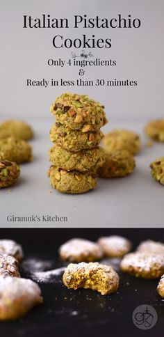 Quick and Easy Italian Pistachio Cookies - Just 4 ingredients and less than 30 minutes and tastes just like the classic Italian Pistachio Cookies!! (Gluten Free too!)