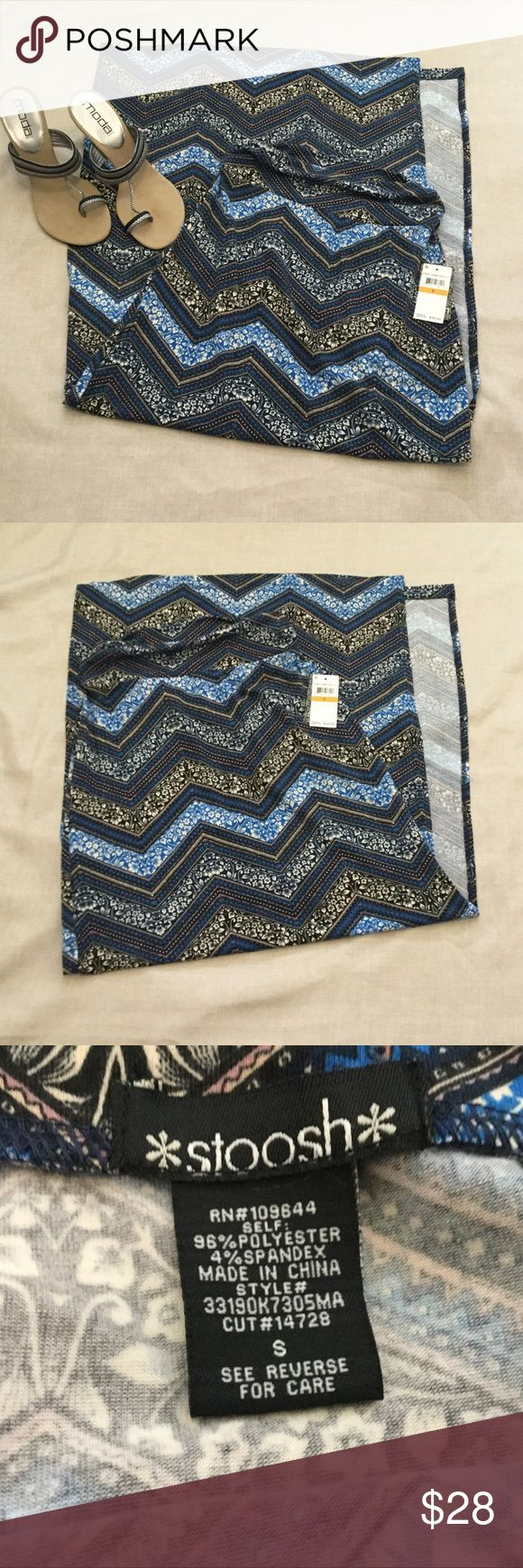 """Blue Chevron Maxi Skirt So soft!!! Side splits are 23 1/2"""". Length is 42"""" and waist is 13"""" across and that is without stretching. Elastic stretchy waist. Stoosh Skirts Maxi"""