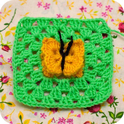 Granny squares with butterfly