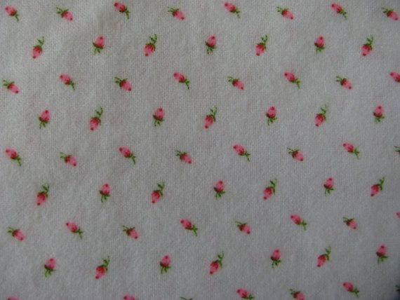Pink Rosebud Flannel Fabric Vintage Remnant Of 1 1 3 Yards