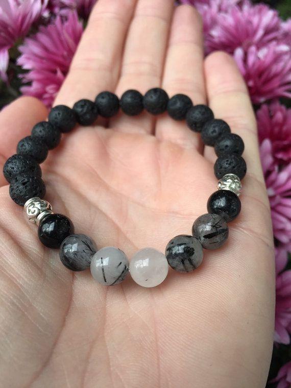 PHASE Moon Phase Essential Oil Diffuser Bracelet Quartz with Tourmaline Lava Stones
