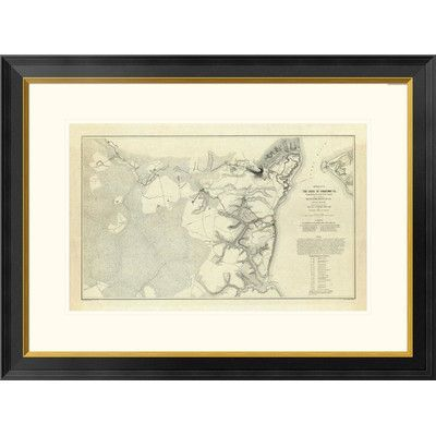 Global Gallery Civil War - Official Plan of The Siege of Yorktown Virginia, 1862 by Henry L. Abbot Framed Graphic Art Size: