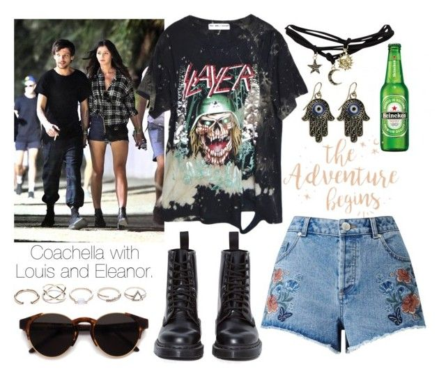 """""""Coachella with Louis and Eleanor."""" by sunfayn on Polyvore featuring moda, High Heels Suicide, Wet Seal, RetroSuperFuture, Miss Selfridge, GUESS e Dr. Martens"""