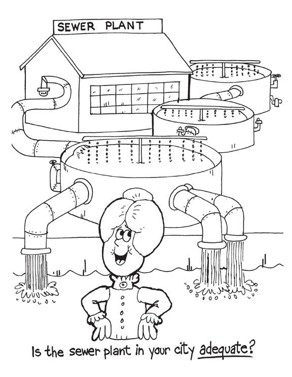 Environmental colouring pages: Is the sewer plant in your