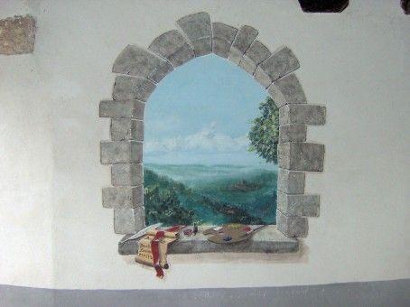 Cheap trompe luoeil disegno dipinto su muro in facciata - Decorazioni muri interni ...
