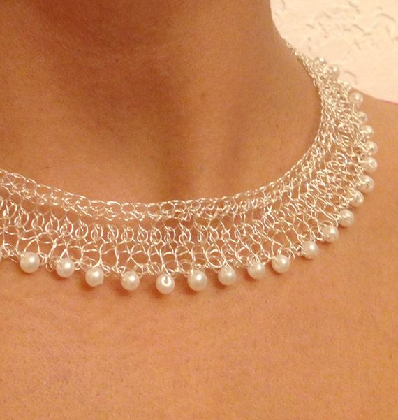 Thank you for visiting my shop.    This unique, silver crochet wire, pearl, bridal collar necklace is classy, dainty and sophisticated.  Timeless and