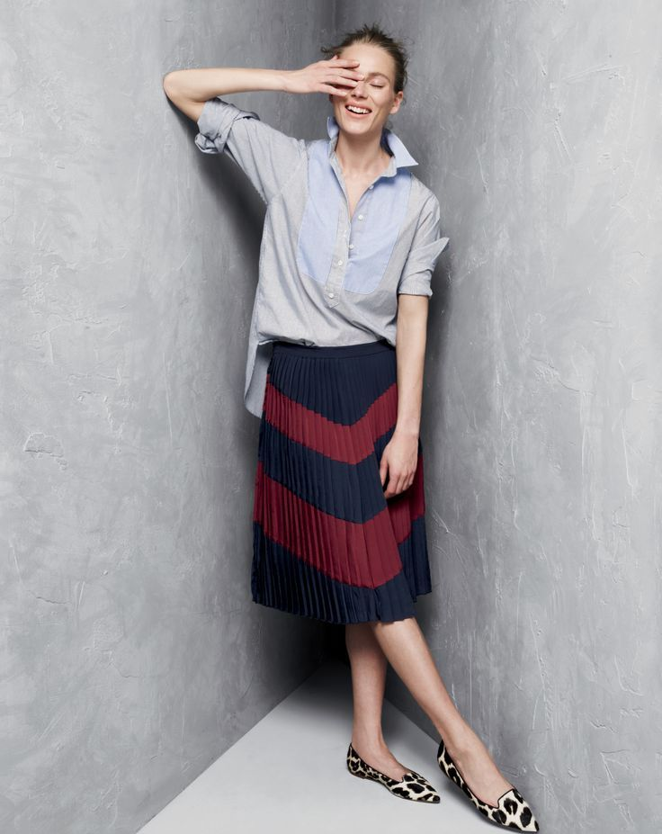 SEP '14 Style Guide: J.Crew women's bib popover shirt, pleated chevron skirt.