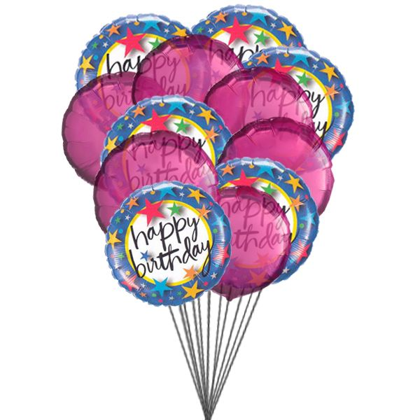 Pink Happy Birthday for the special someone who is quiet close to your. heart.6 Mylar & 6 Latex Balloons deliver in this arrangement. Send #Balloon #Online to #Canada