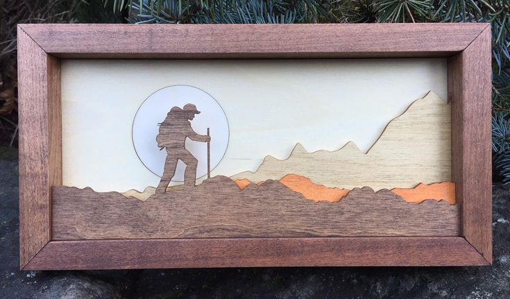 3D Laser Cut Shadow Box Wood Small Scene Inlaid / Backpacker / Cross Country / Outdoors / Moon / Handcrafted / Mountains / Hiker / Hiking