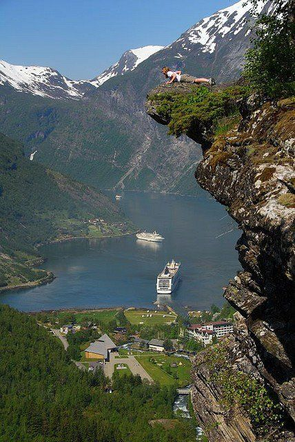 Looking over the edge of Flydalsjuvet, Geirangerfjord, Norway.