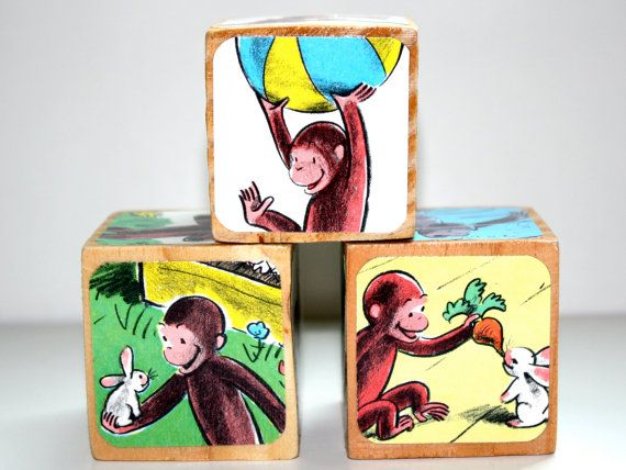Curious George Baby Shower Gift Nursery Room Decoration Childrens Wooden Book Blocks