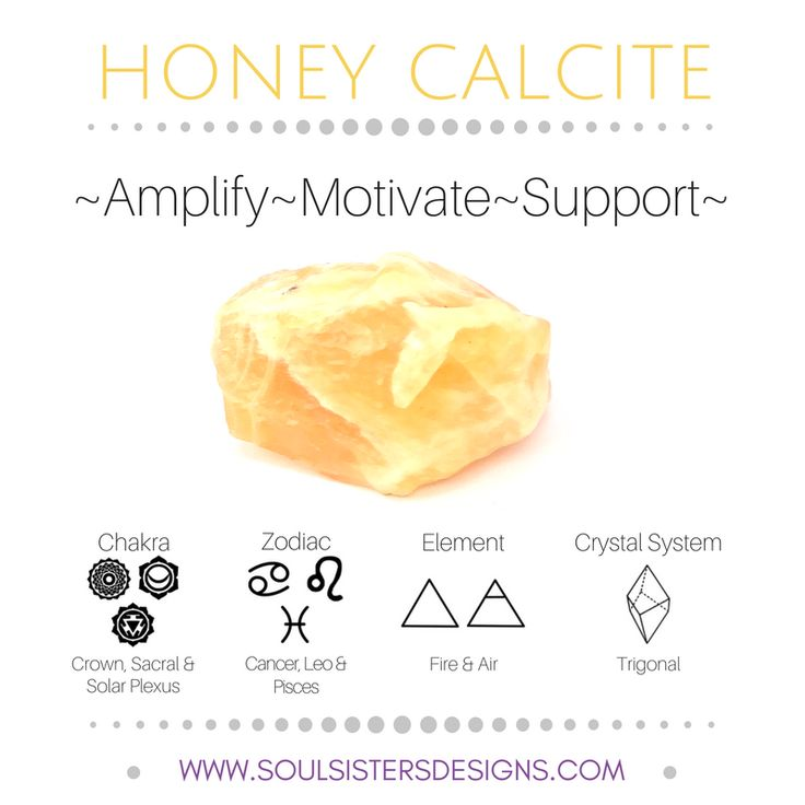 Metaphysical Healing Properties of Honey Calcite, including associated Chakra, Zodiac and Element, along with Crystal System/Lattice to assist you in setting up a Crystal Grid. Go to https://www.soulsistersdesigns.com to learn more!
