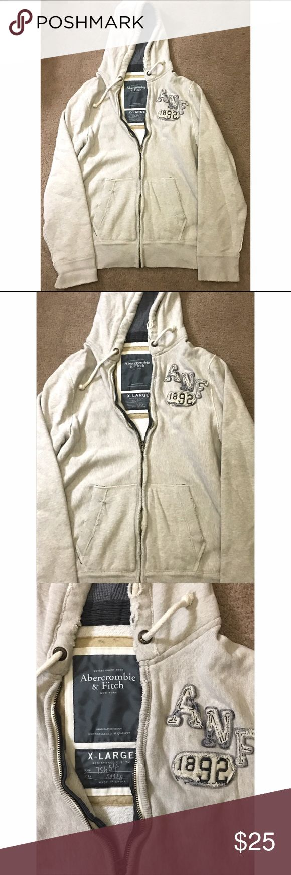 Abercrombie & Fitch hoodie Zip up Abercrombie & Fitch hoodie. Great condition, no flaws. Cream/ off white color. Abercrombie & Fitch Sweaters Zip Up