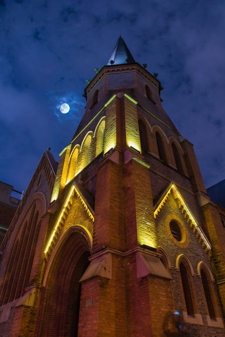 Church Architecture Building Exterior Business Finance And Industry Clock Cloud - Sky History Night No People Outdoors Place Of Worship Religion Sky Sunset Tower Travel Destinations