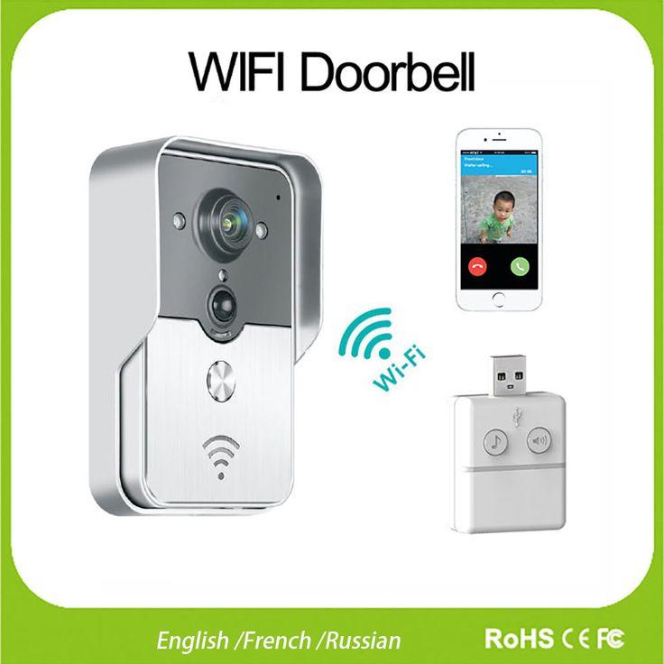 WiFi Wireless Video DoorPhone intercom Doorbell peephole Camera English/French/Russian PIR Nightvision Alarm USB Music Doorbell