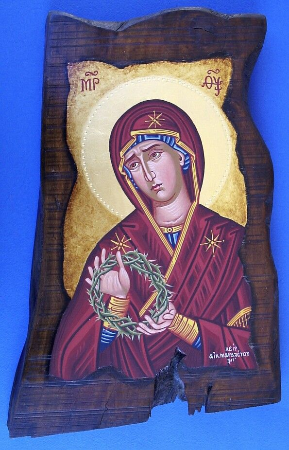 Holy Mother of dissapearense  Antique style 50 x 35 cm antique gold leaf 23k By www.anatasipsixis.com