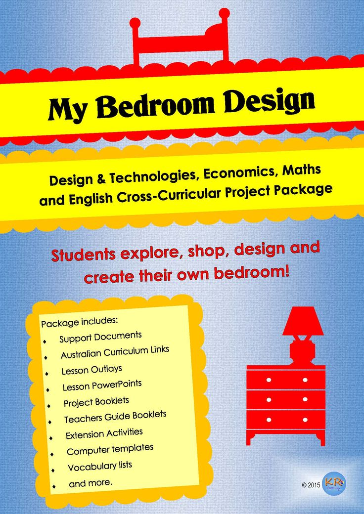 Cross Curricular My Bedroom Design  Project/ Unit of Work  combining Design & Technologies, Economics, Maths, English and Civics & Citizenship curriculum areas. Also Geography. Students design, shop for and plan a bedroom design for a new room in house parents are building.