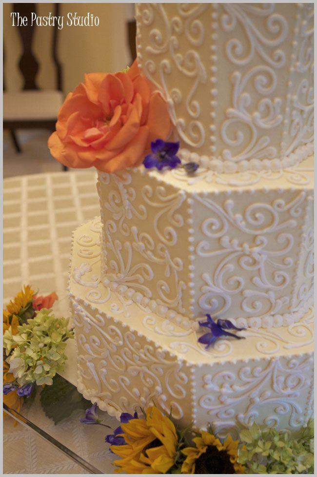 Soft Yellow & White hexagon Wedding Cake