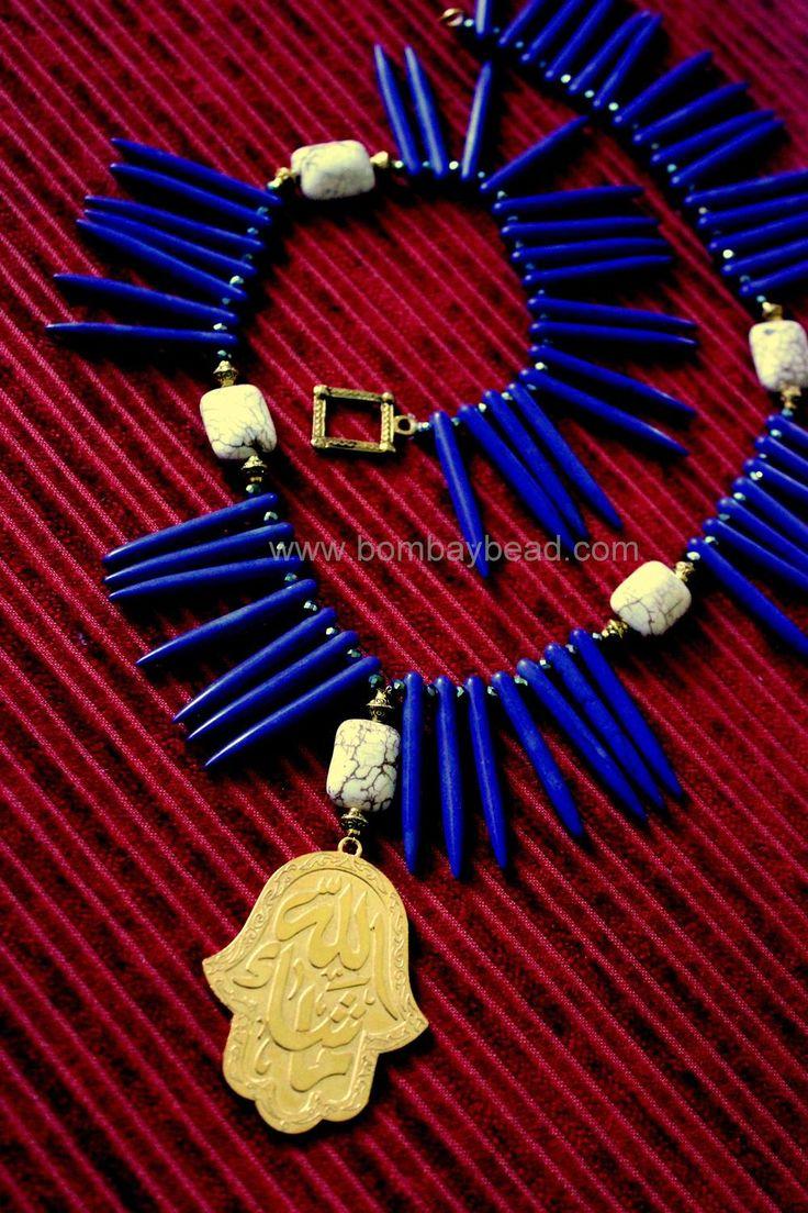 Hamsa Hand Spiked Lapis Blue Statement Necklace