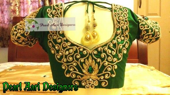 Green bridal blouse with  zardosi and stone