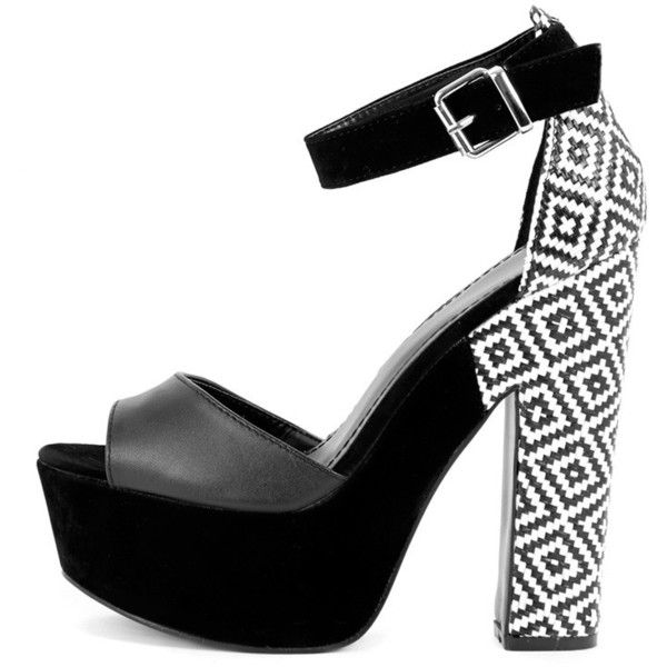 Shona Black Heeled Sandal with Aztec Print Heel (284.735 IDR) ❤ liked on Polyvore featuring shoes, sandals, heels, black, black shoes, kohl shoes, black sandals, heeled sandals and aztec print shoes