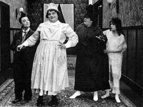 Roscoe 'Fatty' Arbuckle was a gifted comedian whose career was ruined by scandal and outright lies. He also helped start the careers of Buster Keaton (on the left) and Al 'Fuzzy' St. John (not pictured) who would be later well-known for his many roles in westerns when silents went to sound pictures. I can't remember the name of this film, but it was the only one where the normally stone-faced Keaton would actually crack a smile and look like he was ready to laugh when Arbuckle dressed in…