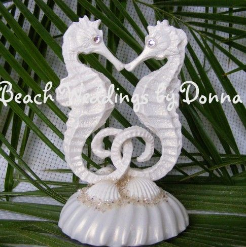 White Kissing Seahorse Cake Topper by weddingshells on Etsy